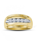 14k Yellow Gold Finishing Solid 925 Silver Engagement Men's Spl Fashion ... - $60.10