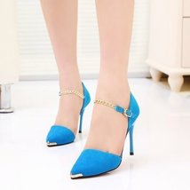 PS011 stiletto pointed ankle sandals w chain strappy  size 35-39, blue - $42.80