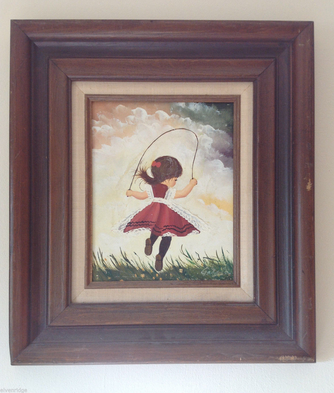 "Garcia ""Young Girl with Jump Rope in Red Dress"" Oil Painting Framed Original Art"