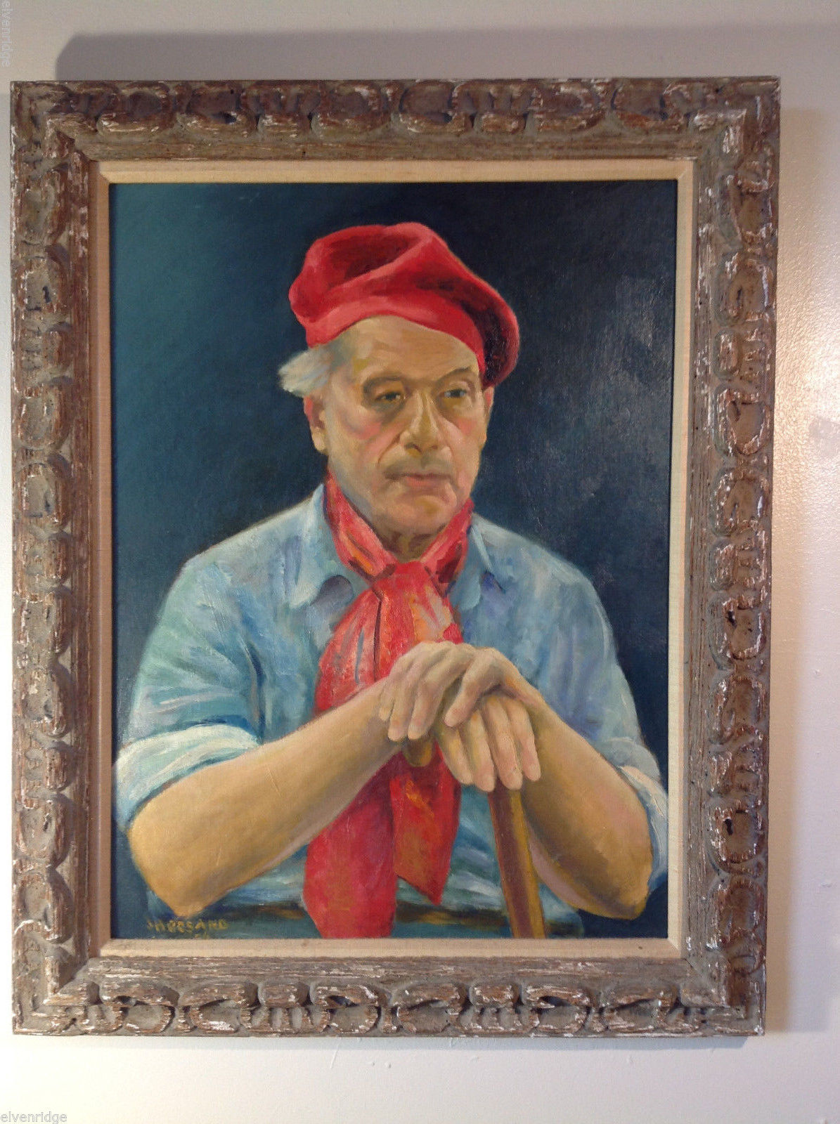 Johan H. Rosand Portrait of Man with Red Beret, Scarf Oil on Canvas Original Art