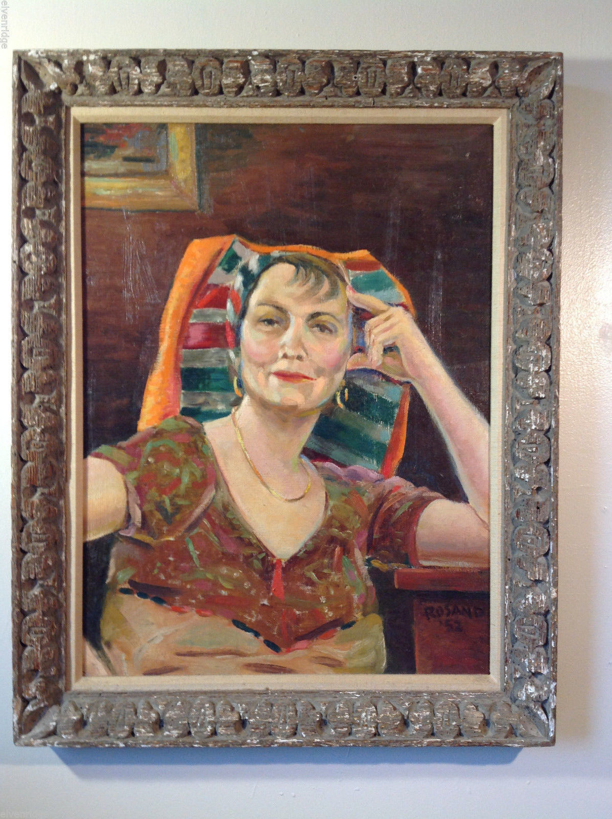 Johan H. Rosand Portrait of Woman in Striped Headwrap Oil on Canvas Original Art
