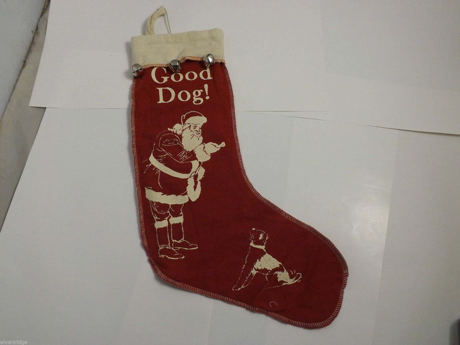 Good Dog  Christmas Holiday Red felt Stocking with Bells