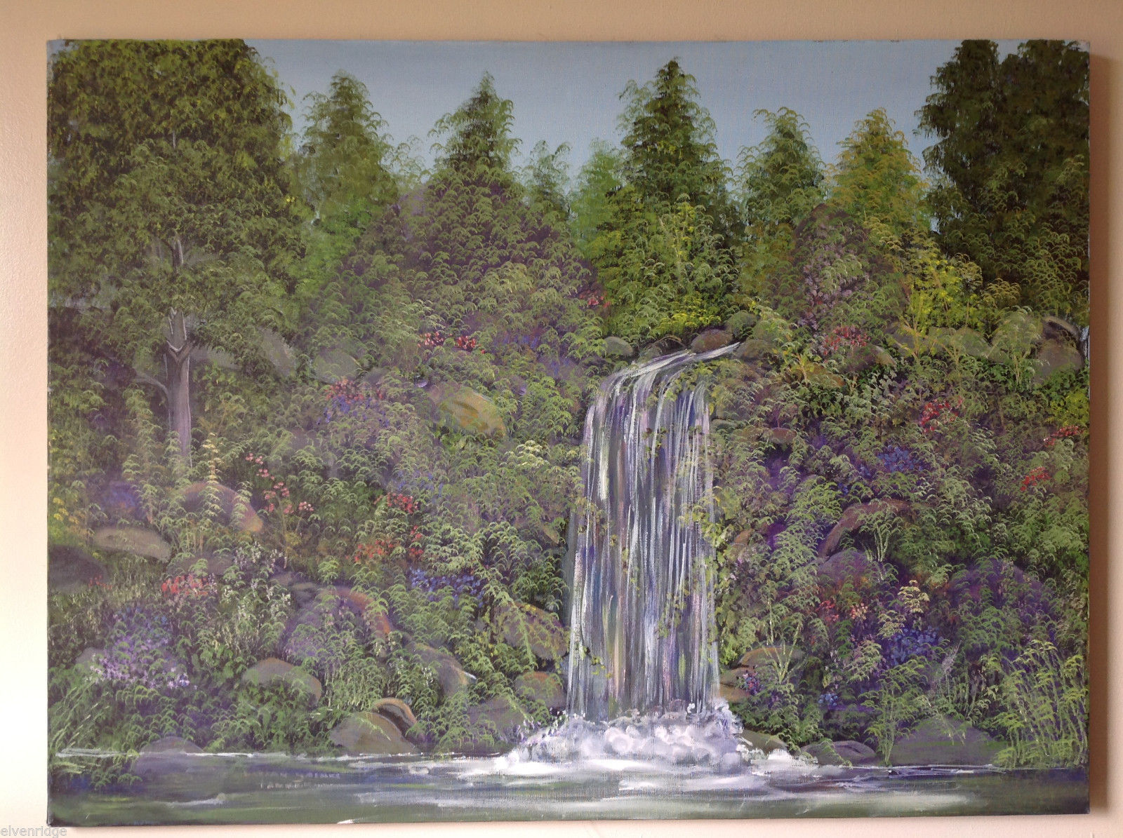 Vivian Gaines Tanner Original Art Oil on Canvas Waterfall Landscape Painting '97