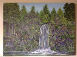 Vivian Gaines Tanner Original Art Oil on Canvas Waterfall Landscape Painting 97