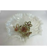 """White Northwood Opalescent Glass Bridal Bowl Ruffles Footed Dish 8 1/2 x 3 1/2""""  - $32.73"""