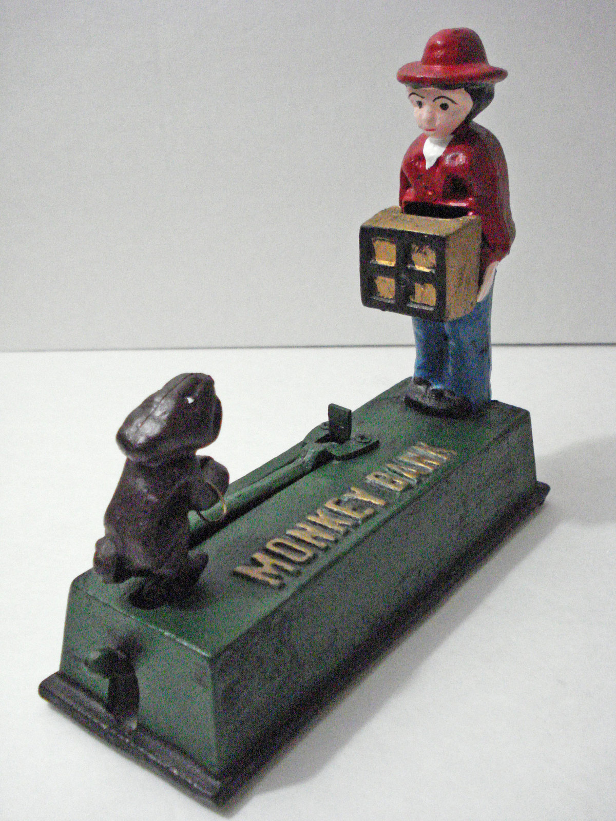 Cast Iron Monkey Bank Organ Grinder Man Mechanical Coin Bank
