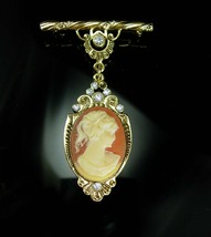 Cameo brooch Framed in Brilliant Clear Rhinestones  Anniversary Wedding ... - $45.00
