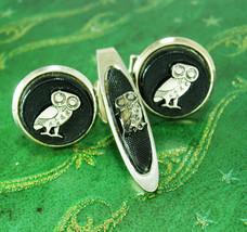 Woodsy Owl Cufflinks Vintage Wise Old Bird With Novelty Give A HOOT Don'... - $70.00