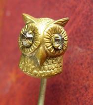 Antique gold OWL STICKPIN Jeweled Eye Fine mens estate jewelry victorian... - $155.00