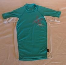 O'Neill GIRLS SKINS CREW (Size 12) Teal & White- UV Block 50+ - $12.19