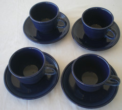 Fiesta Ware Cobalt Blue Cups And Saucers Set Of Four (4) - $28.04