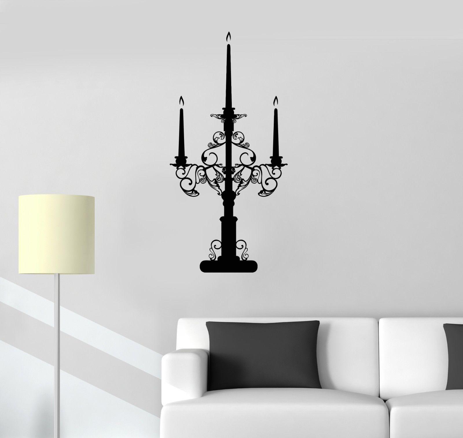Vinyl decal chandelier candelabrum lighting vintage decor for Chandelier mural antique