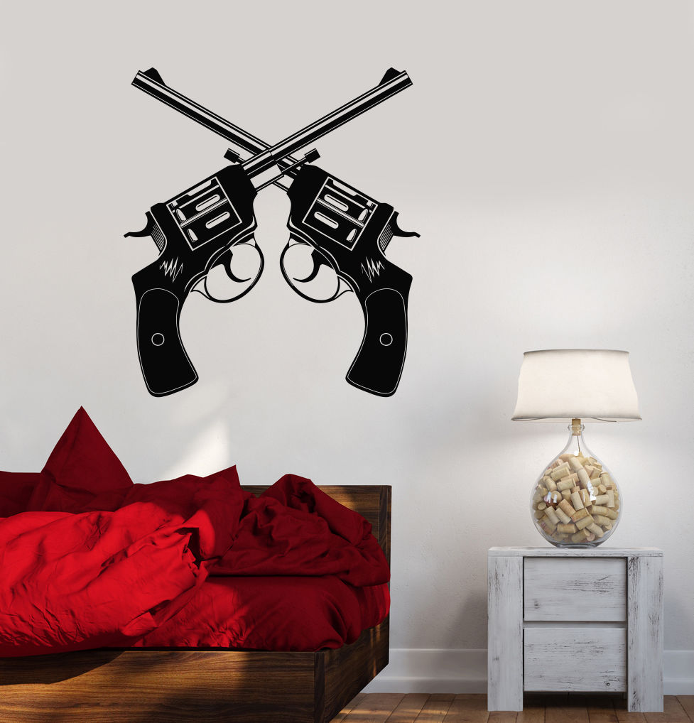vinyl decal gun shop revolver weapons shooting range wall stickers ig3456 decals stickers. Black Bedroom Furniture Sets. Home Design Ideas