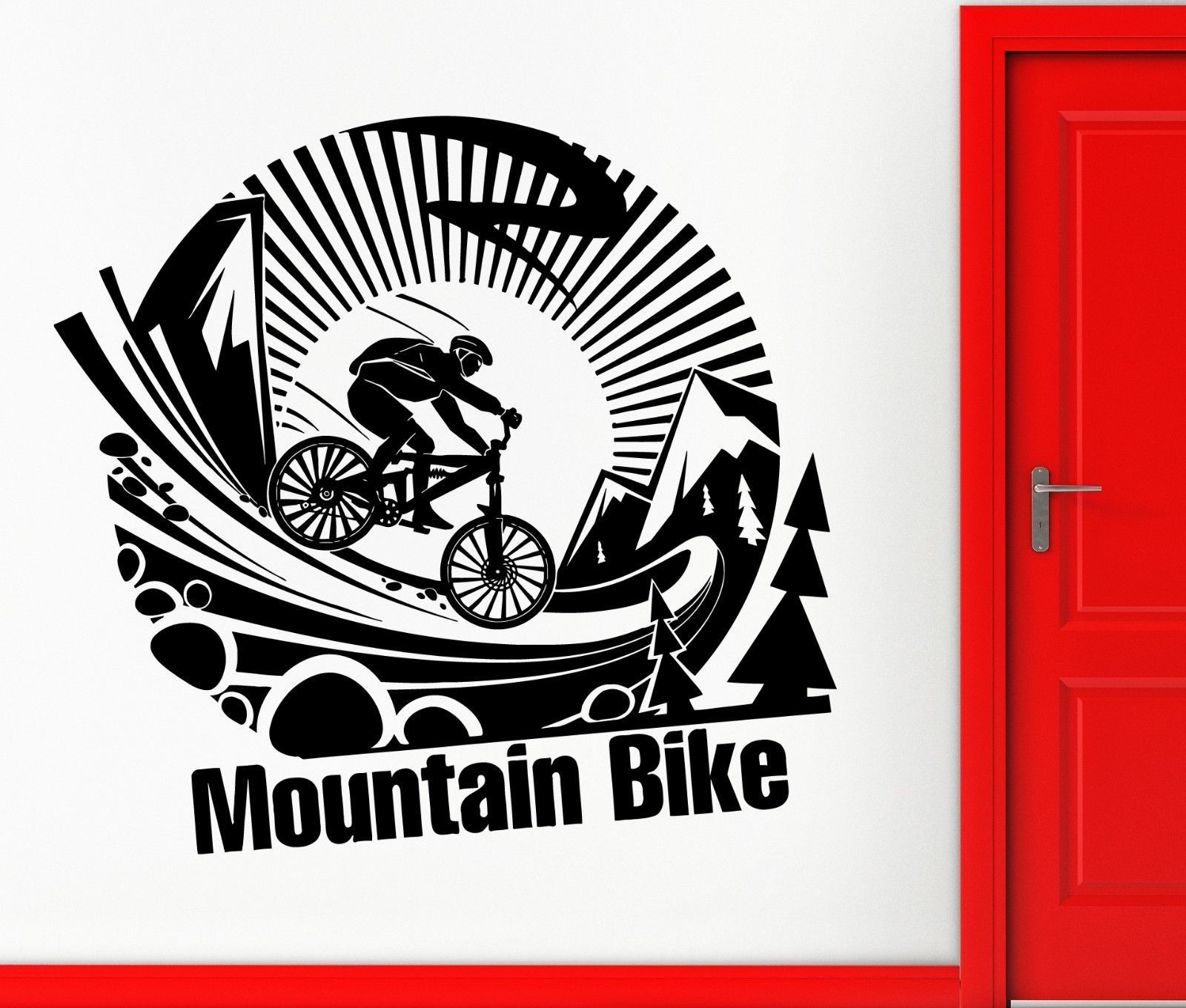 Vinyl decal mountain bike extreme sports cool room decor for Stickers para pared
