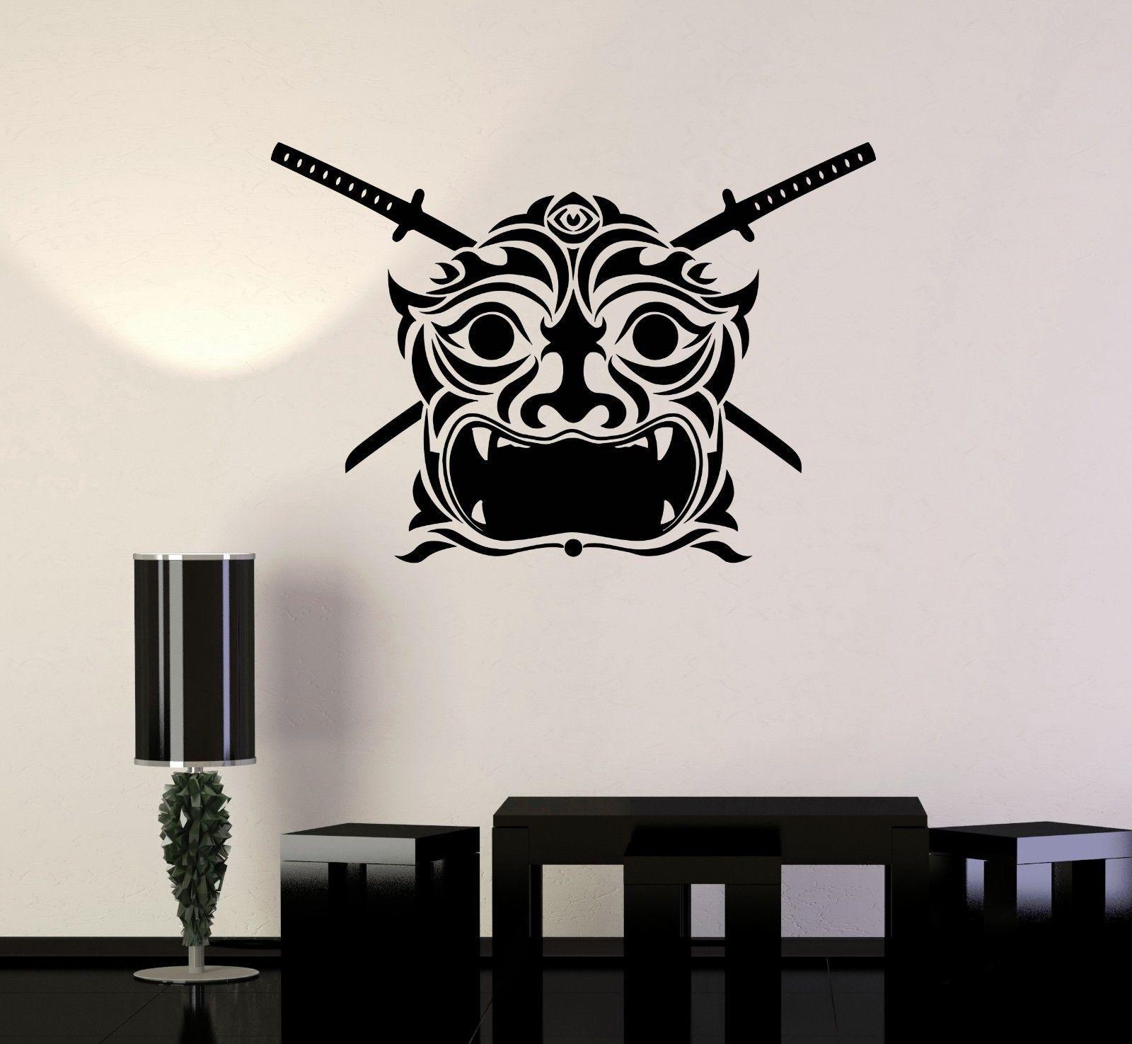 Vinyl decal samurai mask japan asian decor japanese wall for Stickers para pared