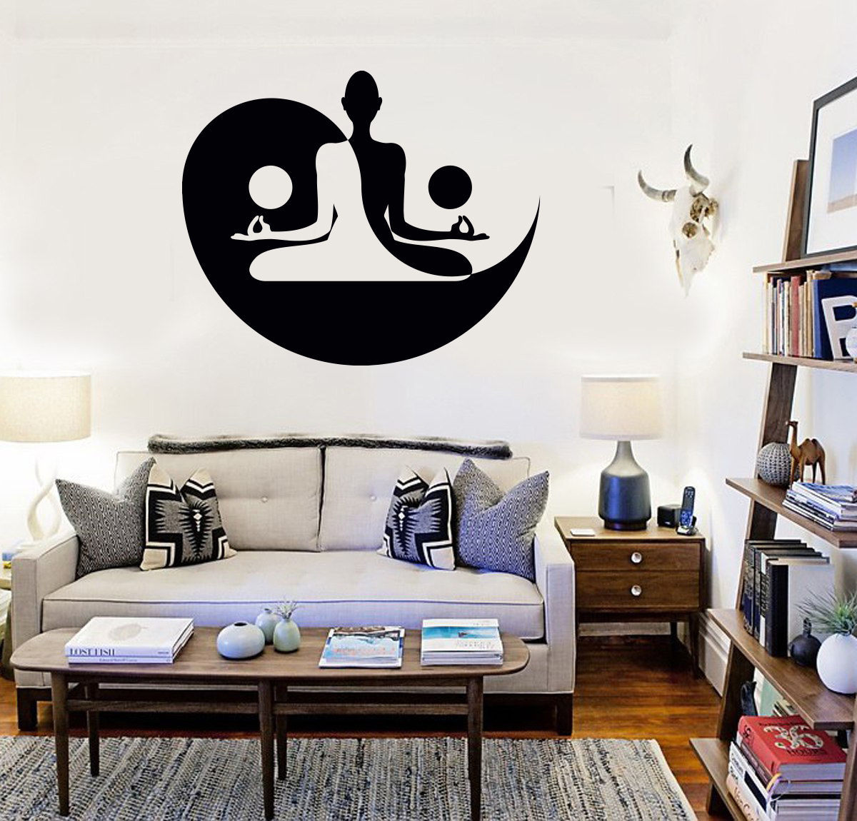 Vinyl decal yin yang yoga meditation bedroom decor wall for Meuble mural yin yang