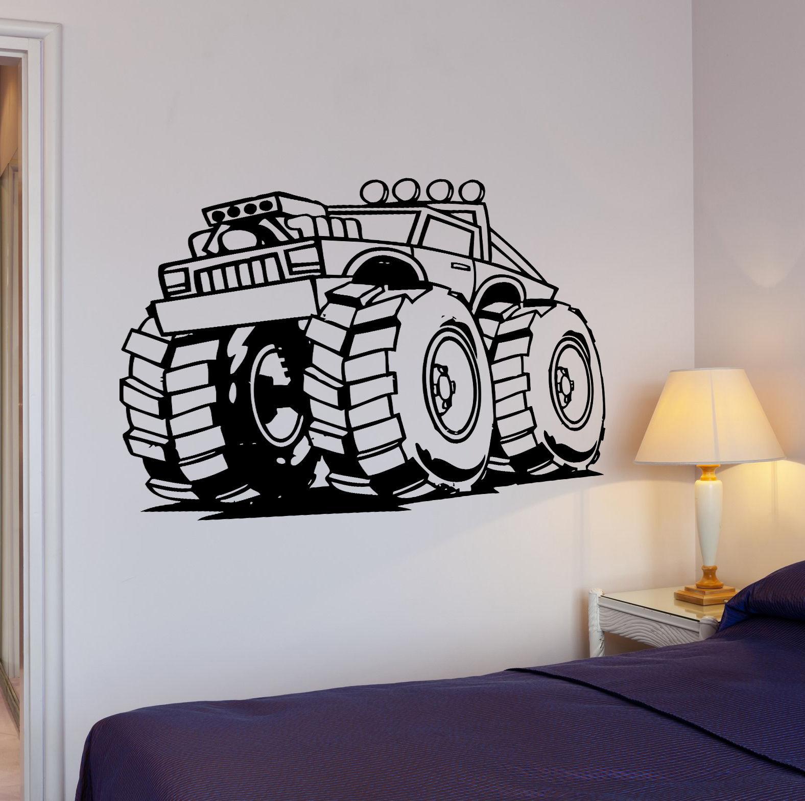 Wall Decal Big Machine Wheels Jeep Suv Atv Power Mural