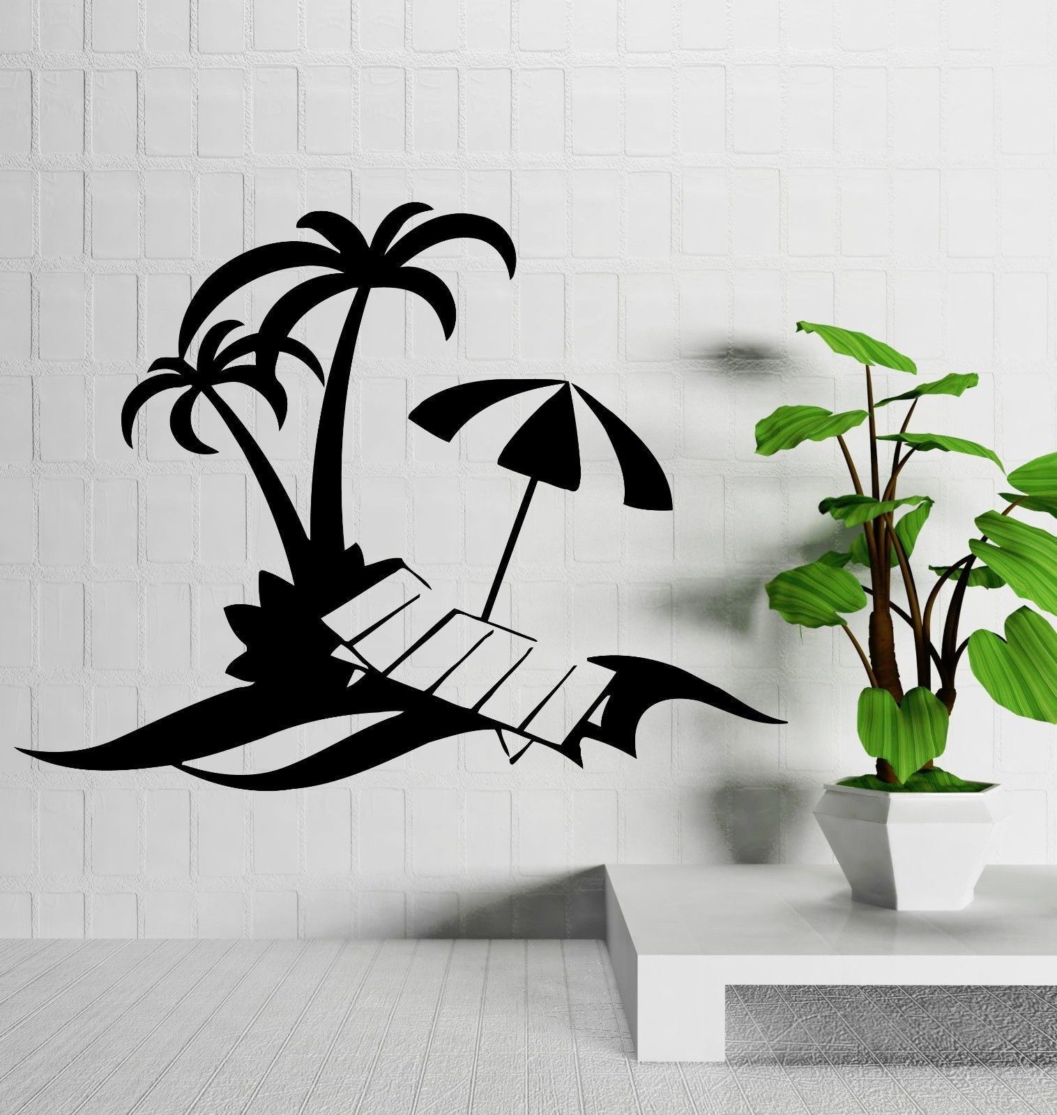 Wall Decal Palm Beach Vacations Relax Tropical Decor Vinyl