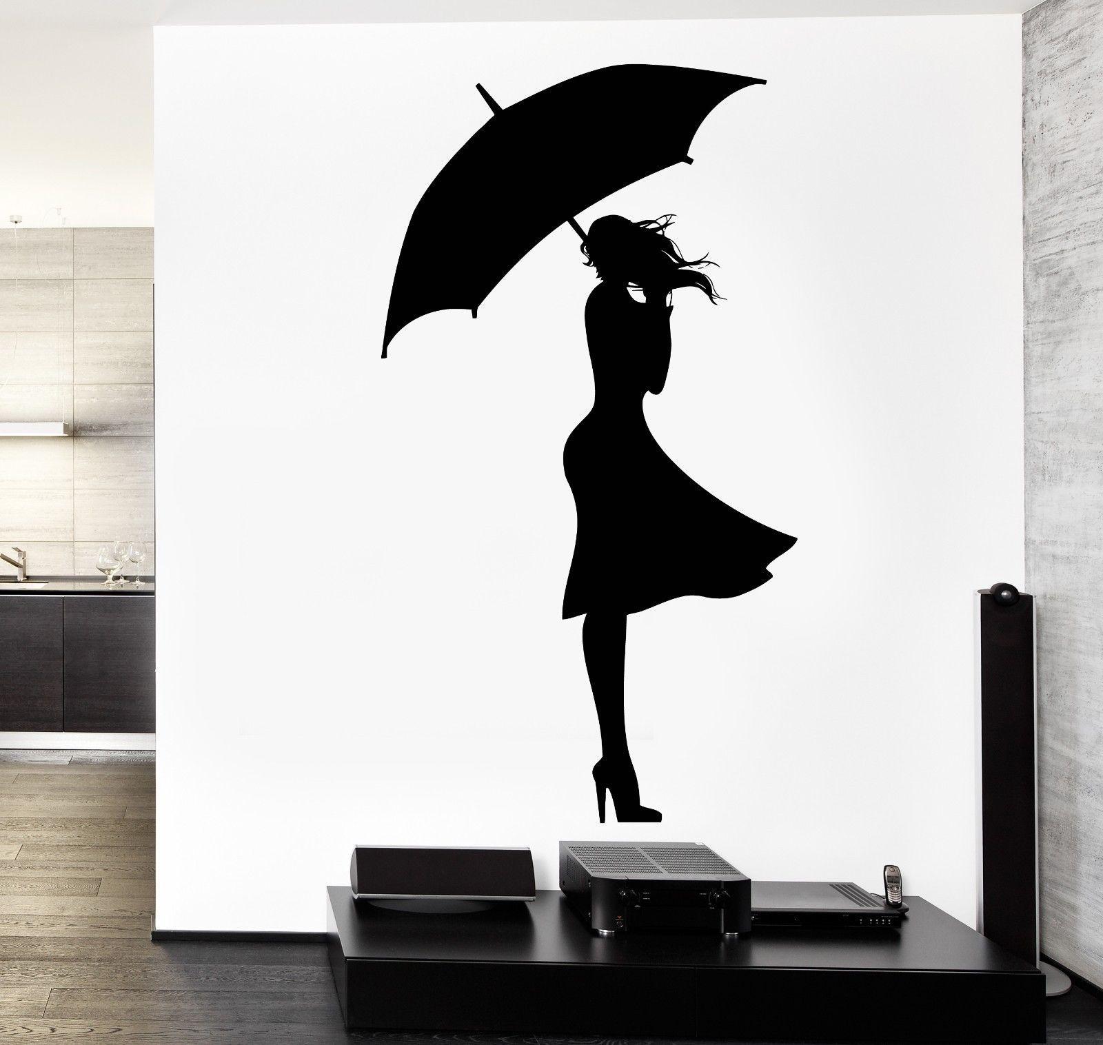 Wall Decal Sexy Girl Rain Wint Autumn Love Vinyl Sticker ...
