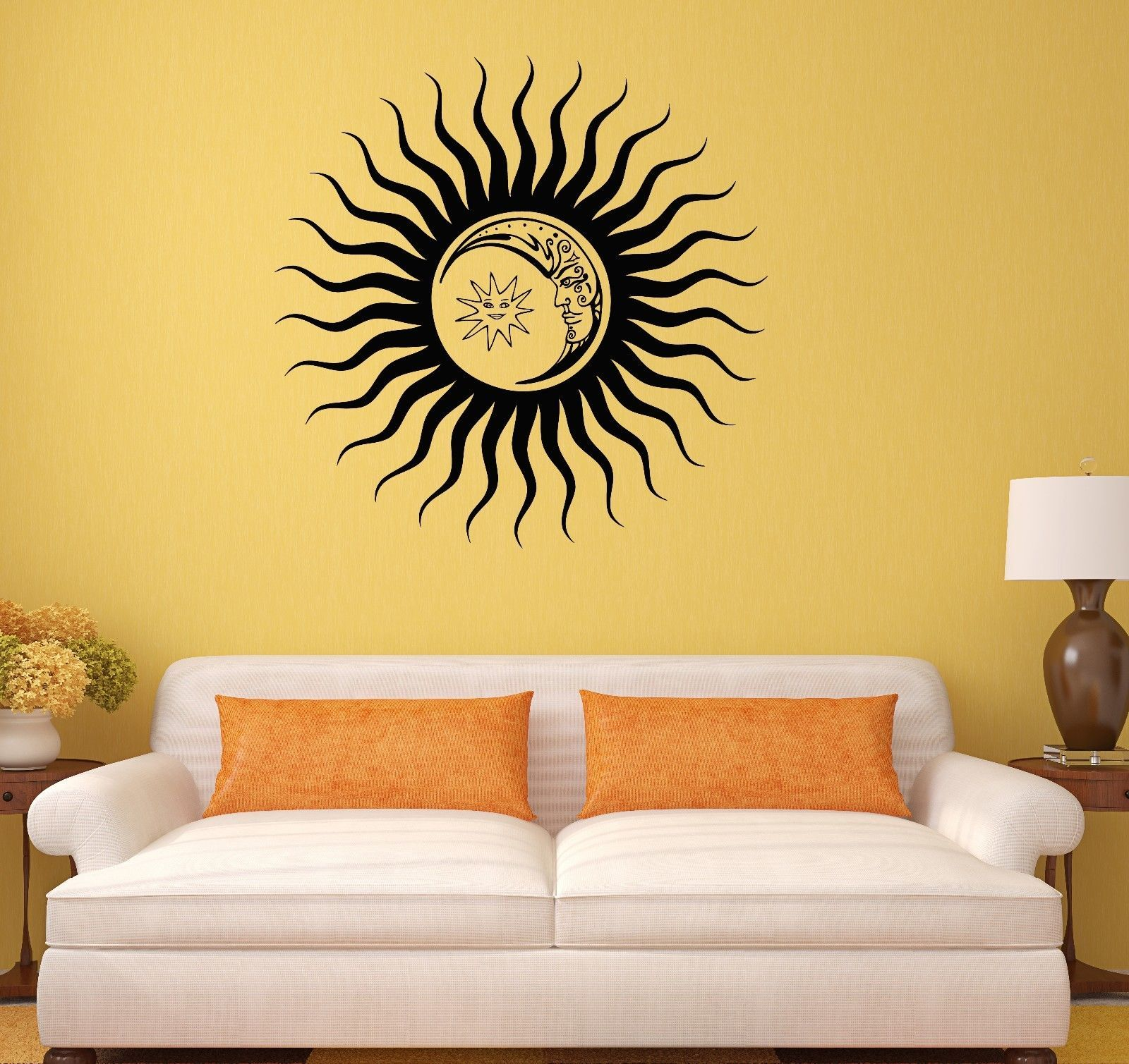 wall decal sun moon art home decoration vinyl stickers decor ig3075 decals stickers vinyl art. Black Bedroom Furniture Sets. Home Design Ideas