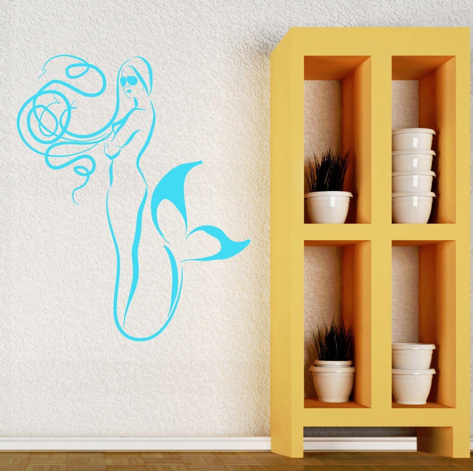 Wall sticker vinyl decal mermaid marine sea decor bathroom for Bathroom vinyl decor