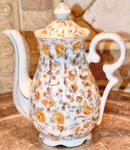 Vintage Lefton ?  Yellow Rose Chintz China Demi Toy  Coffee Tea Pot Gold... - $39.99