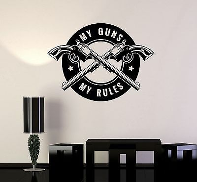 vinyl decal gun shops shooting range quote weapons wall stickers mural ig3528 decals. Black Bedroom Furniture Sets. Home Design Ideas