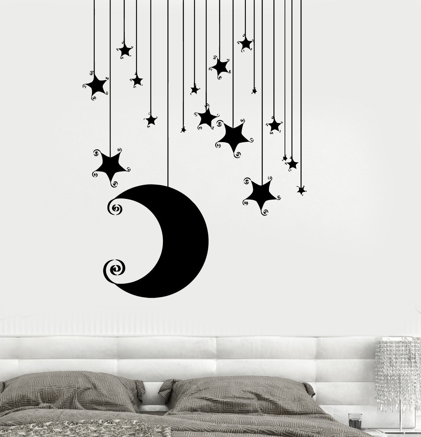 Wall Vinyl Decal Romantic Bedroom Stars Moon Cool Kids Decor z3681