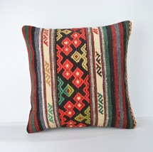 18x18 Inch Vintage Turkish Handwoven Striped Kilim Rug Decorative Pillow Cover  - $55.00