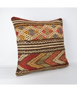 kilim pillow Handwoven Natural Wool Kilim Pillow Cove 18x18 large kilim ... - $55.00