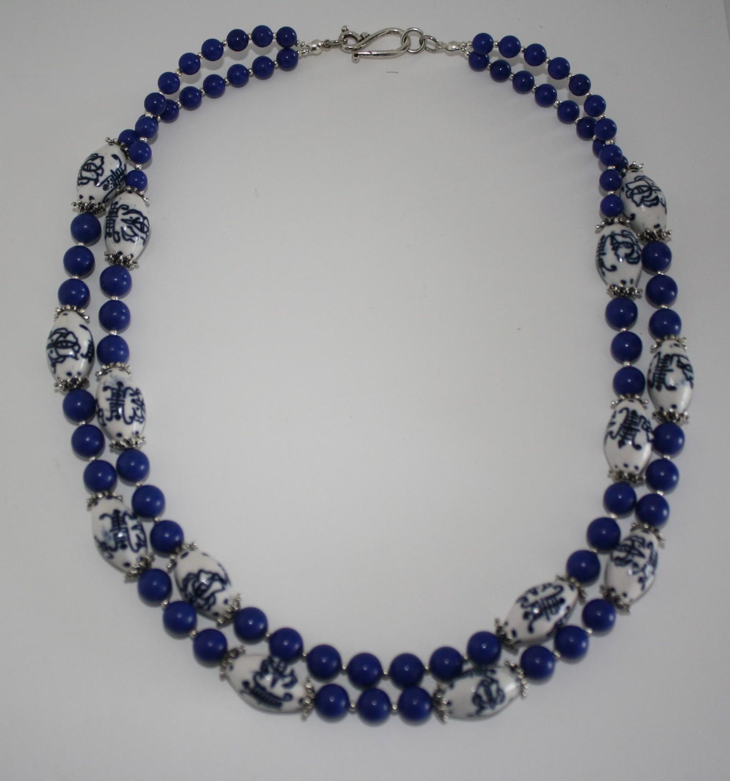 Traditonal Blue & White Chinese Porcelain & Lapis Lazuli Necklace & Earrings Set