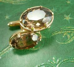Swank Smoky Topaz Cufflinks 30ct faceted stones gold cuff links estate j... - $225.00