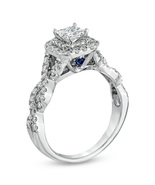 1 CT Simulated Diamond Double Frame Twist Engagement Ring 14K White Gold... - $215.78