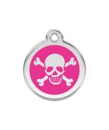 SMALL Hot Pink Skull & Cross Bones Pet Tag ID A... - $14.49