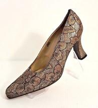 J Renee Women Size 8.5 N Sparkling Glitter Gold & Black Mesh Formal Pumps Shoe - $34.64