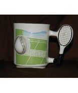 "Two Tennis Racquet and Ball 3 ½"" tall Coffee Mug Cups - $15.99"