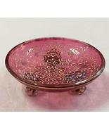 Moser Bohemian Hand Enameled Cranberry Glass 3-... - $147.51
