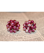 Vintage Raspberry Cluster of Glass Beads Clip On Earrings made in Japan - $24.99