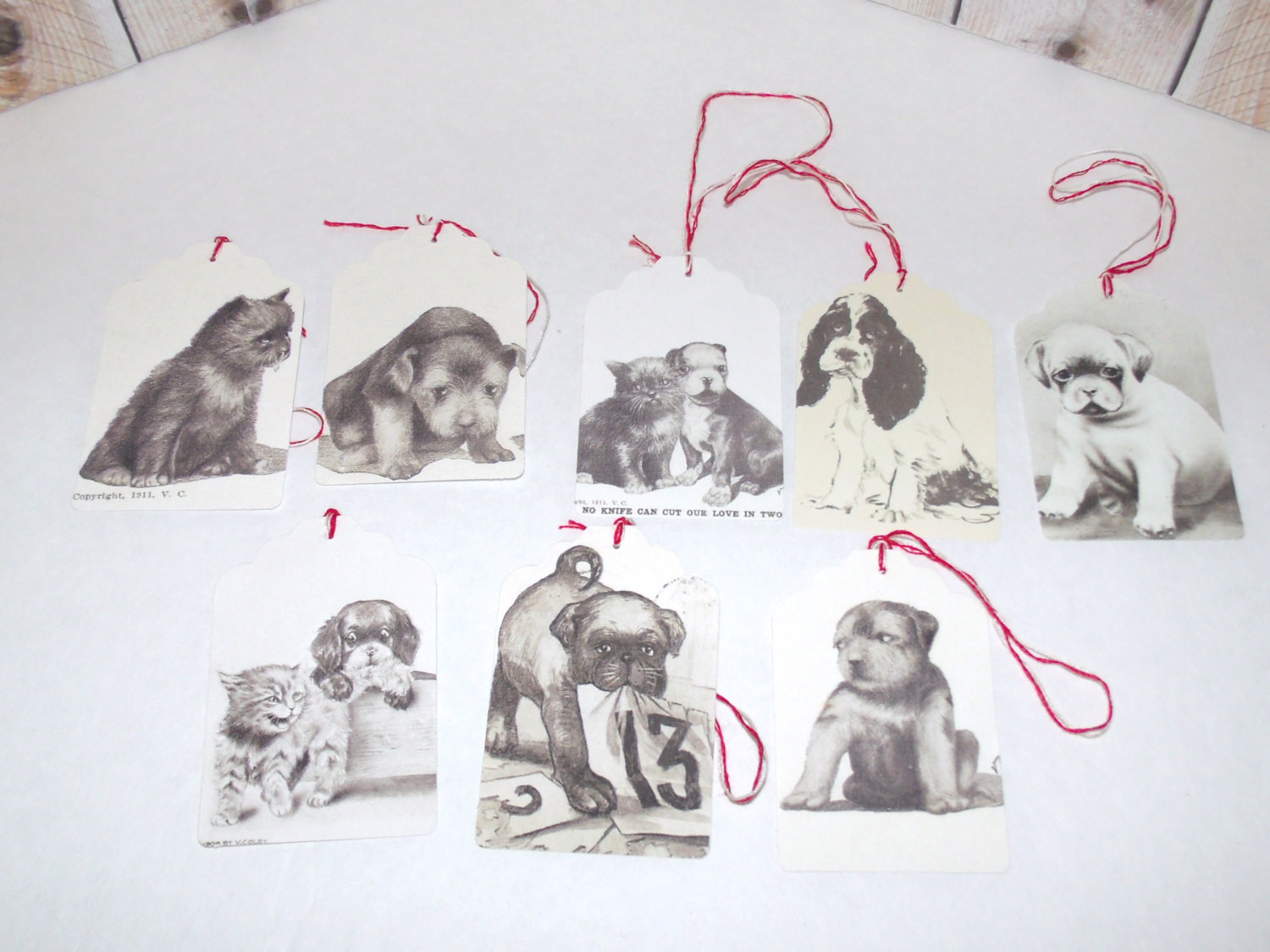 Cats, Kittens , Puppies and Dogs Decorate These Cute Gift Tags Handmade
