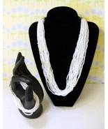 White Glass Seed Bead Vintage Bracelet and Necklace Set - Fine Fashion -... - $24.99