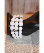 White Milk Glass Coil Wrap Vintage Bracelet 3 strands of graduated bead ... - $49.99