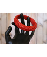 Spicy Red Woven Bangle Bracelet  this Vintage B... - $15.99