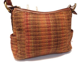 Vintage FOSSIL Handbag Tweed Fabric and Brown Leather Plaited Braided Strap 7508 - $24.00