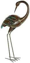 Preening Metal Crane Large Standing Patina Look Garden Decor Yard Art Po... - $132.99