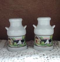Vintage Ceramic Milk Can with Holstein Cow Farm Scene Salt & Pepper Shaker Set - $6.50