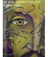 """Original 24x36 Jesus Portrait Canvas Wall Art """"He Was Marred For You"""" - $219.00"""