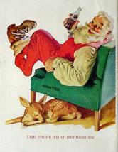 1958 COKE COCA-COLA VINTAGE 10X13 SODA POP PRINT AD! 1950'S SANTA WITH DEER - $9.49