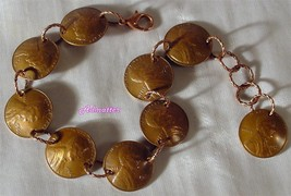 1960 Penny Charm Bracelet 3 D Copper Coin Jewelry 56th Birthday Anniversary Gift - $38.60