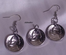 1960 Usa Nickel Coins Earring & Pendant/Charm Set 56th Birthday Anniversary Gift - $16.82
