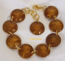 1961 55th Birthday Penny Bracelet Gold Plated Rings Anniversary Valentines Gift - $29.69